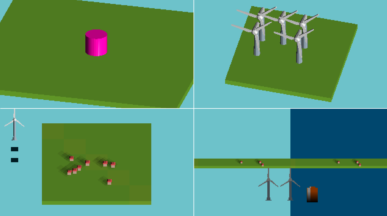 collage of several iterations of the game visuals