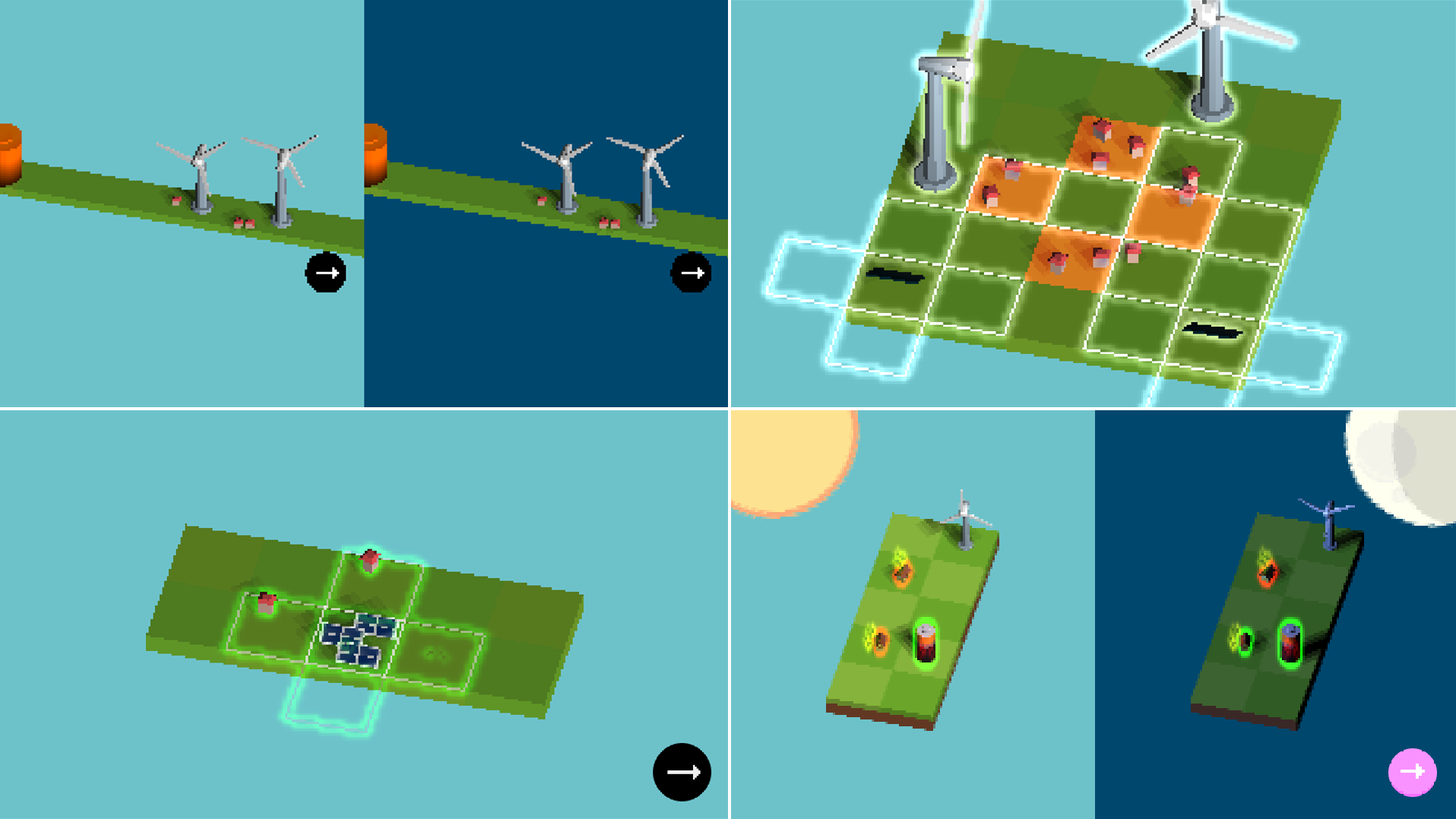 second collage of several iterations of the game visuals